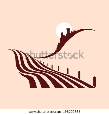 stylized agrarian landscape with a castle in the background - stock vector