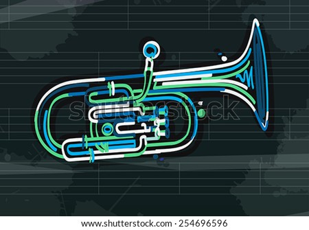 Stylized alto horn over musical sheet, abstract art - stock vector