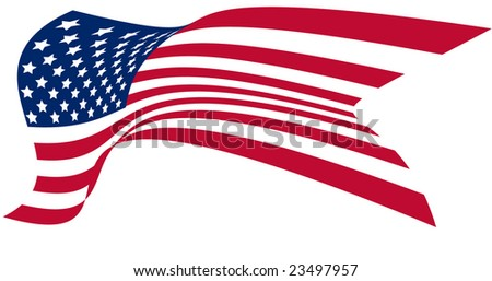Stylized American US flag in the wind