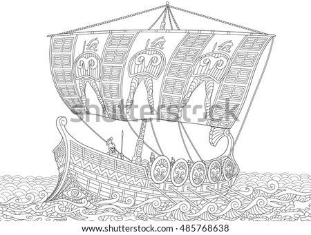 stylized ancient greek galley warship mast stock vector