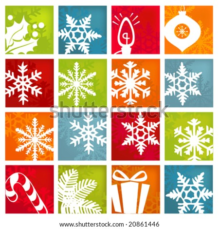 Stylized and colorful winter and holiday icon set. - stock vector