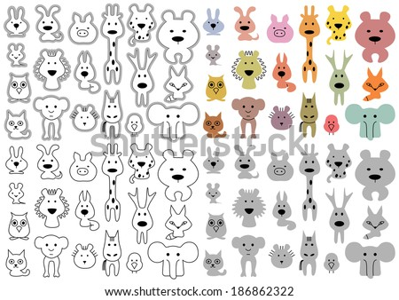 Stylized animals vector outline - stock vector