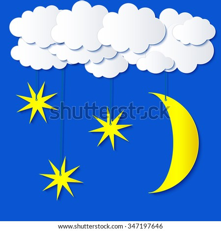 Stylized applique cutout paper clouds, moon and stars with shadow on blue sky background, vector weather background for meteo websites, fantasy cartoon astronomy landscape illustration  - stock vector