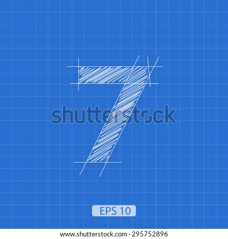 """stylized architectural plan of the figure """"seven"""" on a blue background - stock vector"""
