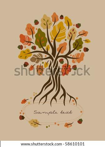 Stylized autumn oak - stock vector