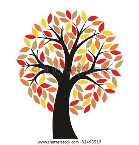 stylized autumn tree with bright leaves - stock vector