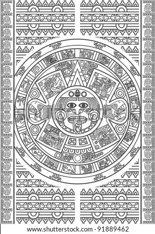 Stylized Aztec Calendar in color, vector illustration - stock vector