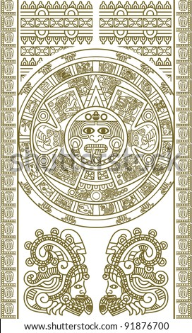 Stylized Aztec Calendar in gold color, vector illustration - stock vector