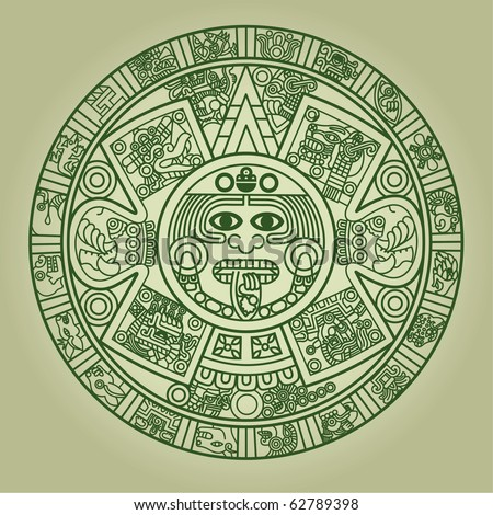 Stylized Aztec Calendar in green color, vector illustration