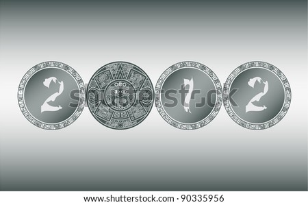 Stylized Aztec Calendar instead of the number zero in 2012, vector illustration - stock vector