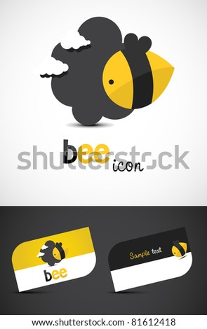 Stylized bee icon such logo and business cards, EPS10 vector. - stock vector