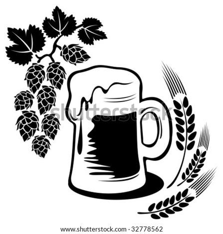 Stylized beer mug isolated on a white background. Digital illustration. - stock vector