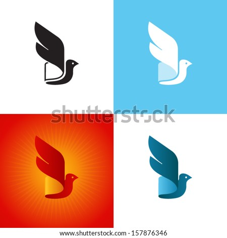 Stylized bird silhouette at different color variations. Vector icon. - stock vector