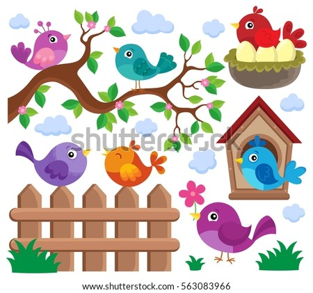 Stylized birds theme set 2 - eps10 vector illustration.