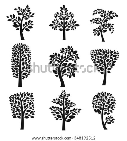 Stylized black and white vector tree icons. Vector tree flat silhouette isolated on white background. Tree different size and forms. Tree black icons set. Tree eco nature. Leaves, tree icons. Tree - stock vector