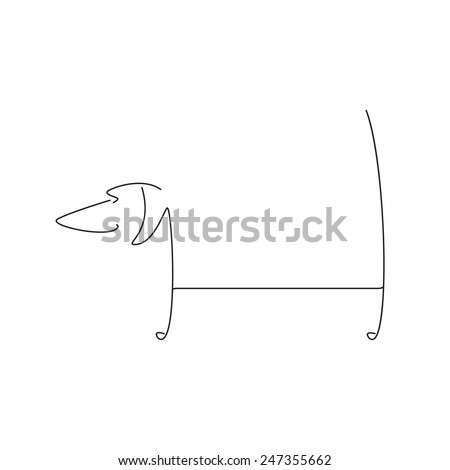 Stylized black dachshund silhouette isolated on white background. Logo template with space for company name on the dog`s back - stock vector