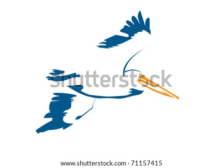 stylized blue and orange pelican isolated on white background - stock vector