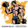 Stylized bodybuilder doing curls with power - stock vector