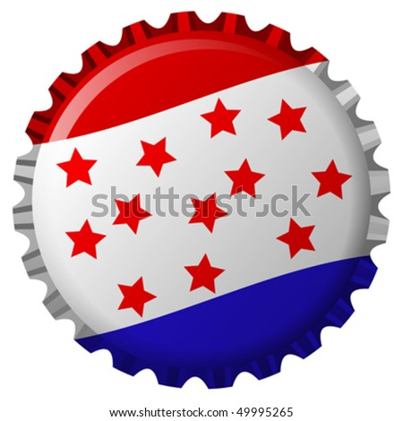stylized bottle cap with united states flag isolated on white background, abstract vector art illustration - stock vector
