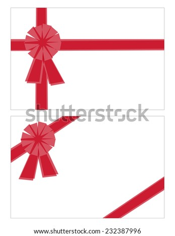 Stylized Bows and Ribbons in Two Different Layouts Isolated on White - stock vector