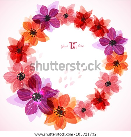 Stylized bright flowers. Abstract floral background. - stock vector