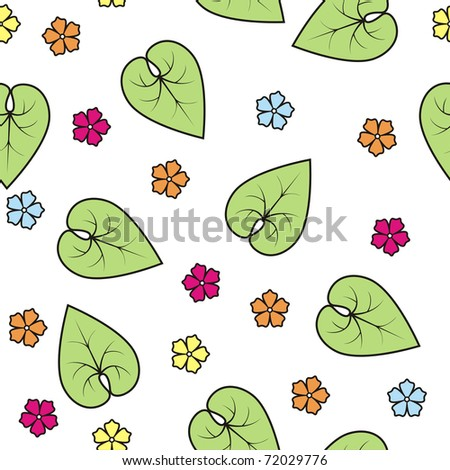 stylized bright flowers and green leaves, seamless - stock vector