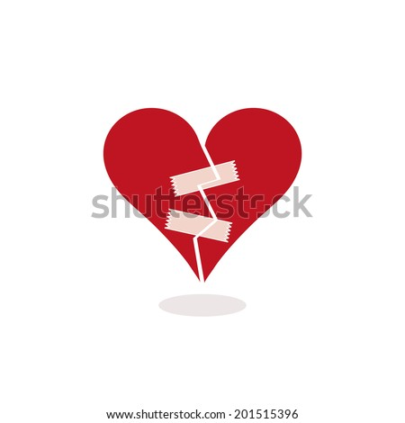Stylized Broken Heart Fixed with Adhesive Tape. Concept - Vector Illustration. Metaphorically trying to mend a red and cracked in half broken heart with two pieces of adhesive tape. EPS, flat colors. - stock vector