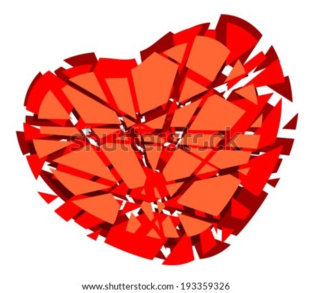 Stylized broken heart isolated on a white background. - stock vector