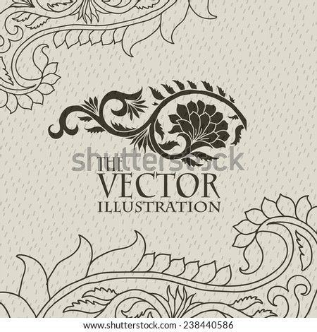 stylized brown flower pattern with the inscription on a light beige background with a thin light pattern on the sides - stock vector
