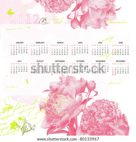 Stylized calendar for 2012