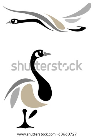 Stylized canada geese - stock vector