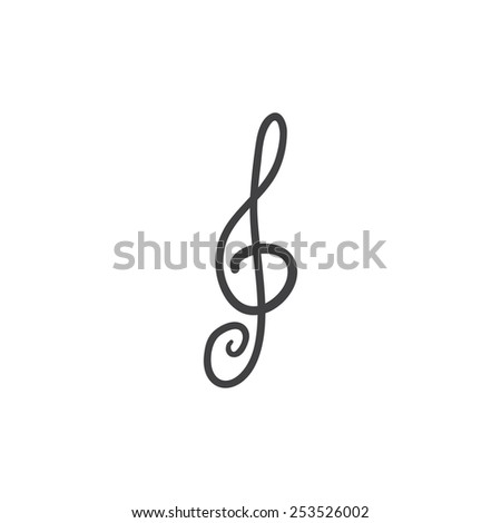 Stylized cartoon like grey treble clef isolated on white background. Logo template, design element - stock vector