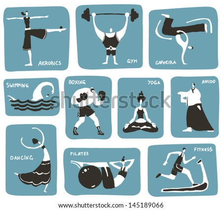 Stylized cartoon sports activities. Vector icon set, 3 colors. - stock vector