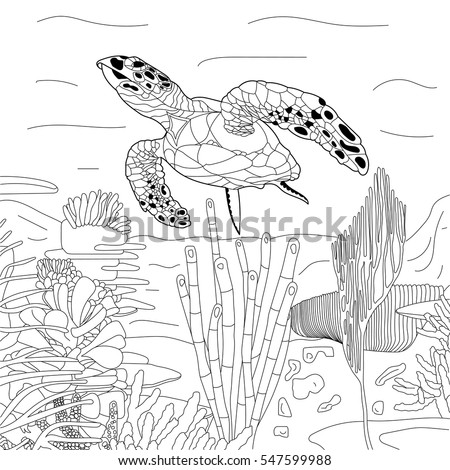 Stylized Cartoon Underwater Composition Of Turtle Tortoise Freehand Sketch For Adult Anti Stress