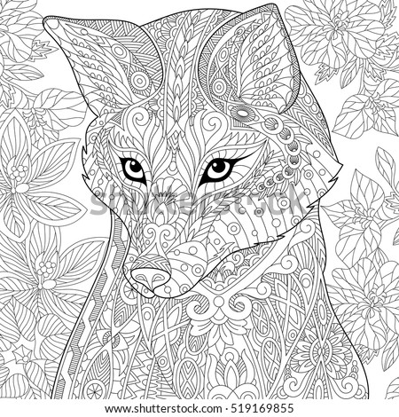 Stylized Cartoon Wild Fox Animal And Hibiscus Flowers Freehand Sketch For Adult Anti Stress Coloring