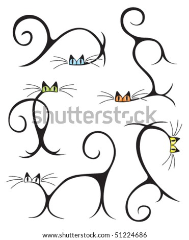 stylized cats in different poses - stock vector