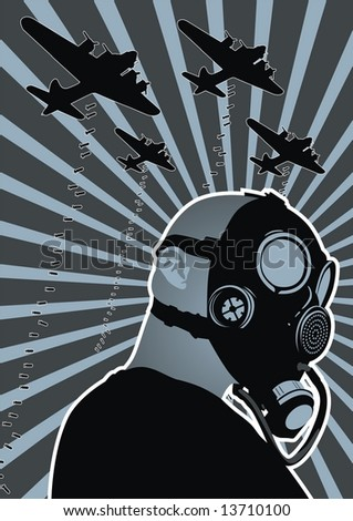 Stylized character wearing a gas mask with bombs falling in the background. - stock vector
