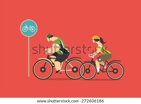 stylized characters group of cyclists, young men and women ride bikes - stock vector