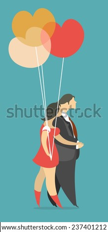 Stylized characters male and female go hand in hand a bunch of balloons in the shape of hearts of - stock vector
