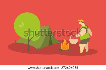 stylized characters tourist goes to the tent near the fire which burns - stock vector