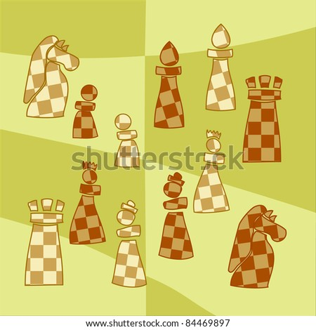 stylized chess pieces - stock vector