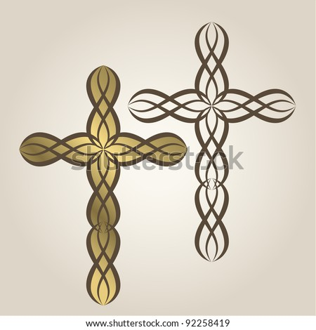 Stylized Christian crosses with fill and outline or outline only - stock vector