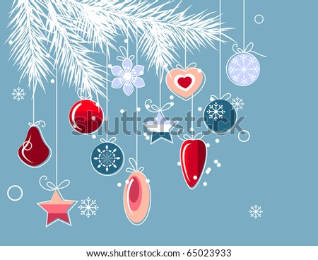 Stylized Christmas decorations hanging at fir branch - stock vector