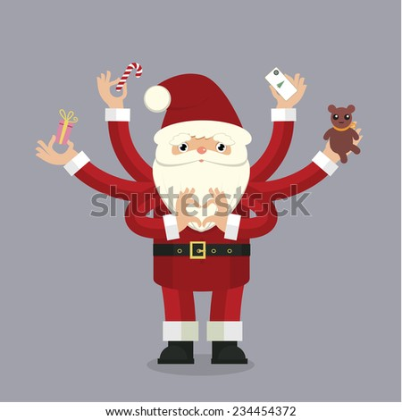 Stylized christmas illustration with many-armed Santa Claus on gray bacground close up details - stock vector