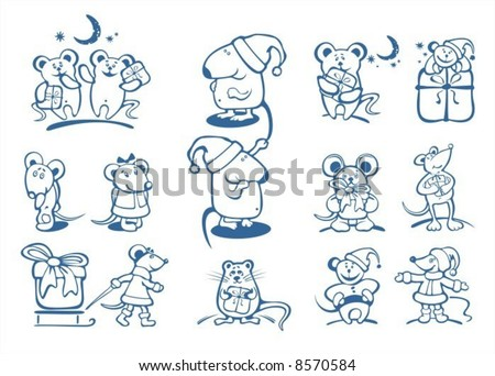 Stylized Christmas mice contour on  a white background. Digital illustration.