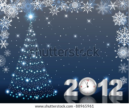 Stylized Christmas tree and silver figure 2012 with clock. 10 EPS. Vector illustration.