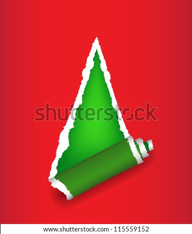 Stylized Christmas tree background in form of torn paper. vector - stock vector