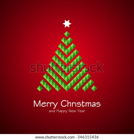 Stylized Christmas tree isolated on background. Vector illustration. - stock vector