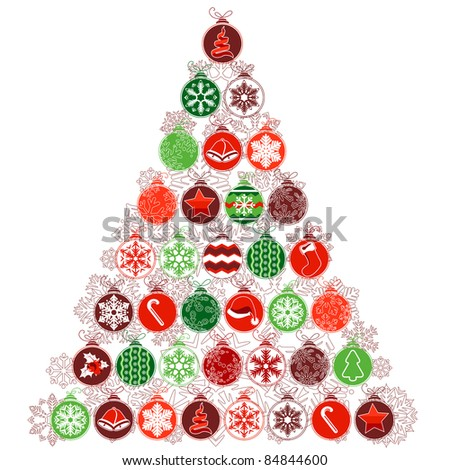 Stylized Christmas tree made of various contour balls - stock vector