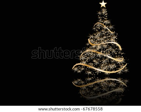 stylized Christmas tree on black background - stock vector